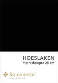 Romanette Hoeslaken Katoen Zwart-90 x 200 cm