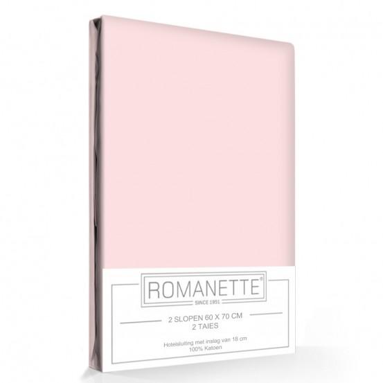 2 Kussenslopen Katoen Romanette Roze
