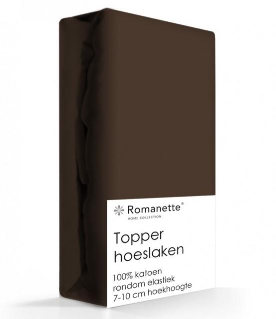 Topper Hoeslaken Katoen Romanette Bruin