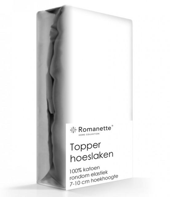 Topper Hoeslaken Katoen Romanette Wit