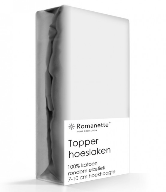Topper Hoeslaken Katoen Romanette Zilver