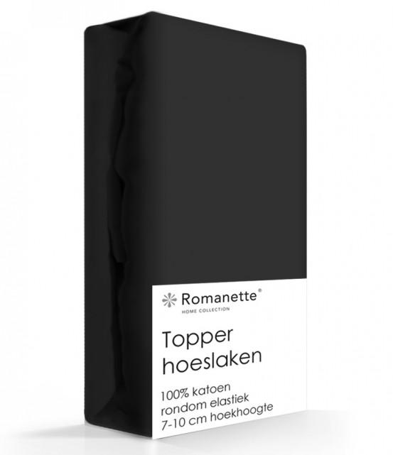 Topper Hoeslaken Katoen Romanette Zwart