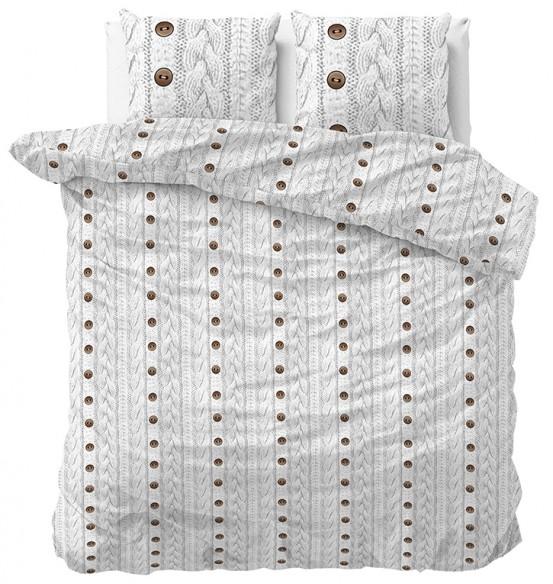 Sleeptime Dekbedovertrek Flanel Knit Buttons White