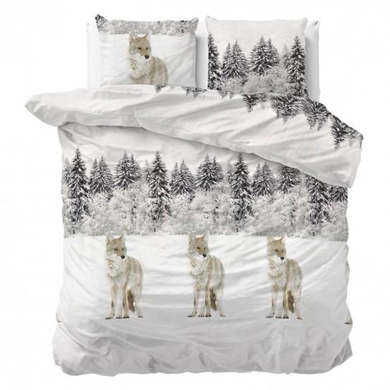Sleeptime Dekbedovertrek Flanel Winter Wolf White