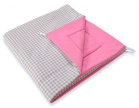 Speelkleed Tipi Tent Checkered Grey-Pink