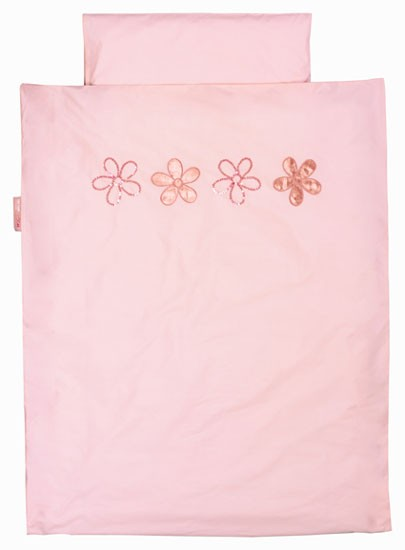 Taftan Beddengoed Beads Flowers Roze