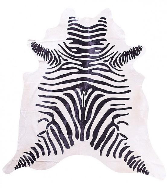 Karpet Zebra Print Zwart/Wit ca. 3,0 m² (koeienhuid)