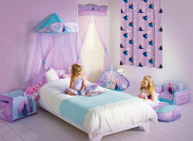 Frozen Voor Slaapkamer : Frozen anna en elsa gordijn
