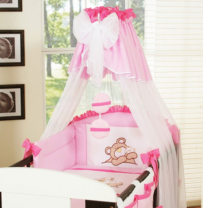 my sweet baby 3 delig set teddybeer voile roze. Black Bedroom Furniture Sets. Home Design Ideas