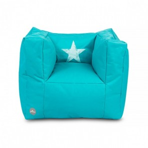 Fauteuiltje beanbag Faded star aqua
