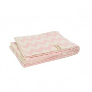 Little Naturals Deken 100x150cm chevron pink/off-white