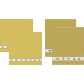 DDDDD Keukendoeken En Theedoeken Bees Yellow (2+2 stuks)