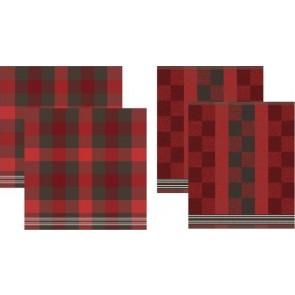 DDDDD Keukendoeken En Theedoeken Feller Red (2+2 stuks)