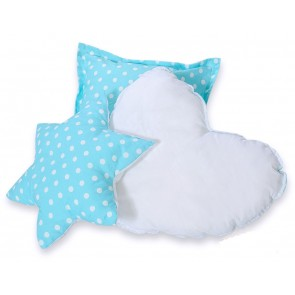 3-Delige Kussenset Dots Turquoise-White