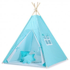 Tipi Speeltent Dots Turquoise-White