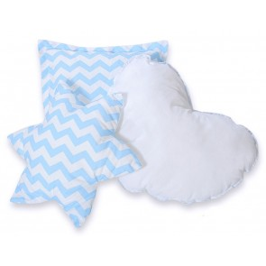 3-Delige Kussenset Chevron Blue
