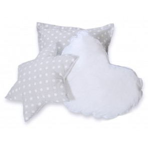 3-Delige Kussenset Dots Grey-White