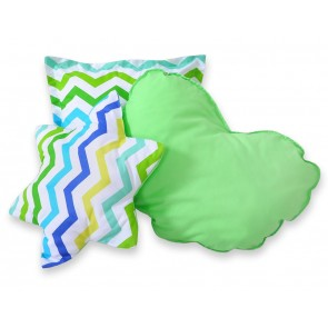 3-Delige Kussenset Chevron Green-Blue