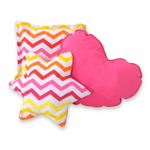 3-Delige Kussenset Chevron Pink-Yellow