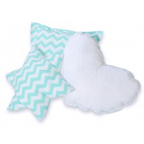 3-Delige Kussenset Chevron Mint