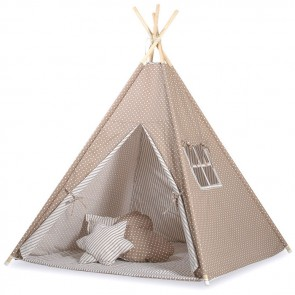 Tipi Speeltent Dots Brown-White