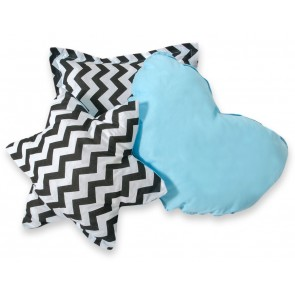 3-Delige Kussenset Chevron Black-Blue