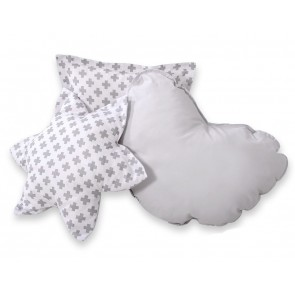 3-Delige Kussenset Cross Pattern Grey