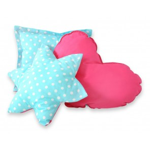 3-Delige Kussenset Dots Turquoise-Pink