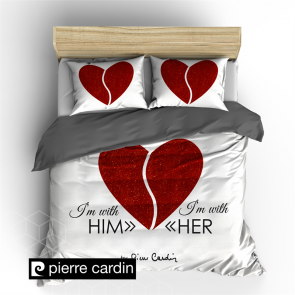 Pierre Cardin Dekbedovertrek Him & Her White/Red