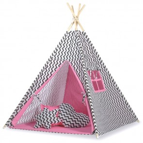 Tipi Speeltent Chevron Black-Pink