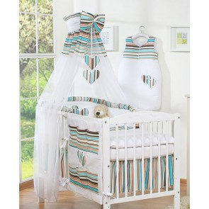 3-Delig Bedset Two Hearts Voile/Katoen Brown/Stripes