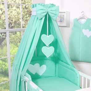 3-delig Bedset Two Hearts Katoen Mint