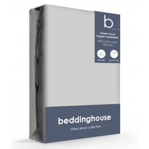 Beddinghouse Jersey-Lycra Topper Hoeslaken Koraal Lichtgrijs