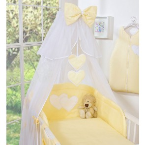 3-Delig Bedset Two Hearts Voile Geel/Streep