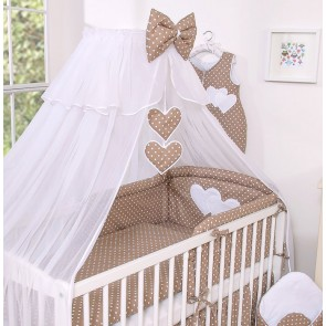 3-Delig Bedset Two Hearts Voile Dots/Bruin