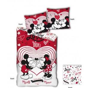 Minnie en Mickey Mouse Dekbedovertrek Love You