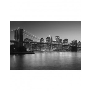 Fotobehang New York Brooklyn Zwart Wit 366 cm x 253 cm