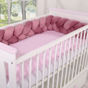 Gevlochten Box/Bedbumper Pastel Pink