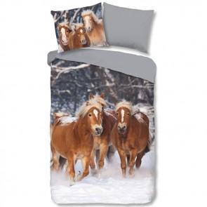 gen. Good Morning Flanel Dekbedovertrek Bruine Paarden