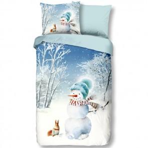 en. Good Morning Flanel Dekbedovertrek Sneeuwpop