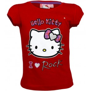 Hello Kitty T-Shirt I love Rock Rood
