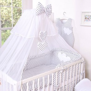 3-Delig Bedset Two Hearts Voile Dots/Zwart