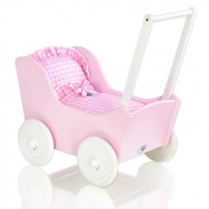 Houten Poppenwagen Roze