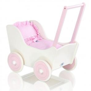Houten Poppenwagen Wit/Roze