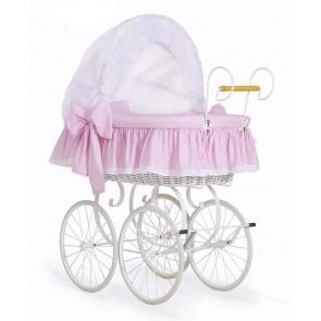 Brocante Rieten Wieg/Kinderwagen Dots Roze