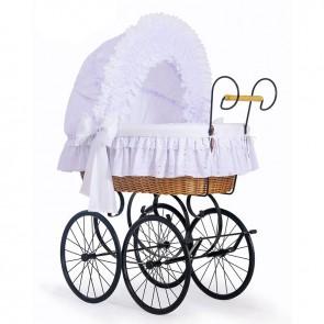 Klassieke Rieten Wieg/Kinderwagen Charlotte Wit