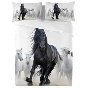 Zavelo Dekbedovertrek Fries Paard Black Pearl