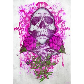 Miami Ink Fotobehang Pink Tattoo Skull (Wallpaper)