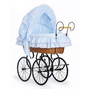 Klassieke Rieten Wieg/Kinderwagen Blauw