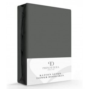 Primaviera Deluxe Katoen-Satijn Topper Hoeslaken Antraciet